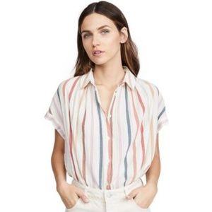 Madewell Central Rainbow Stripe Tunic Shirt 🌈